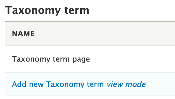 Add taxonomy term view mode