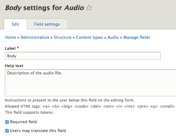 Audioguide field settings