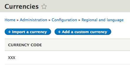 Drupal currency, add or import
