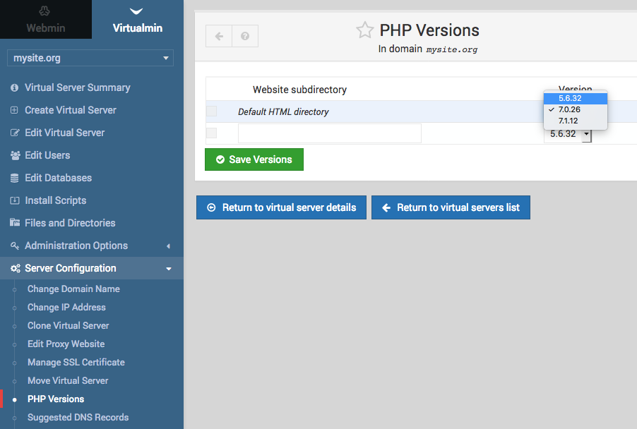Virtualmin several PHP versions